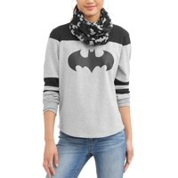 Junior's Jack and Sally Yoke Tee with Sleeve Stripes and Matching Scarf
