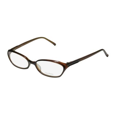 New Vera Wang V102 Womens/Ladies Designer Full-Rim Brown Plastic Temples Durable Trendy Frame Demo Lenses 53-16-138 Eyeglasses/Eyewear