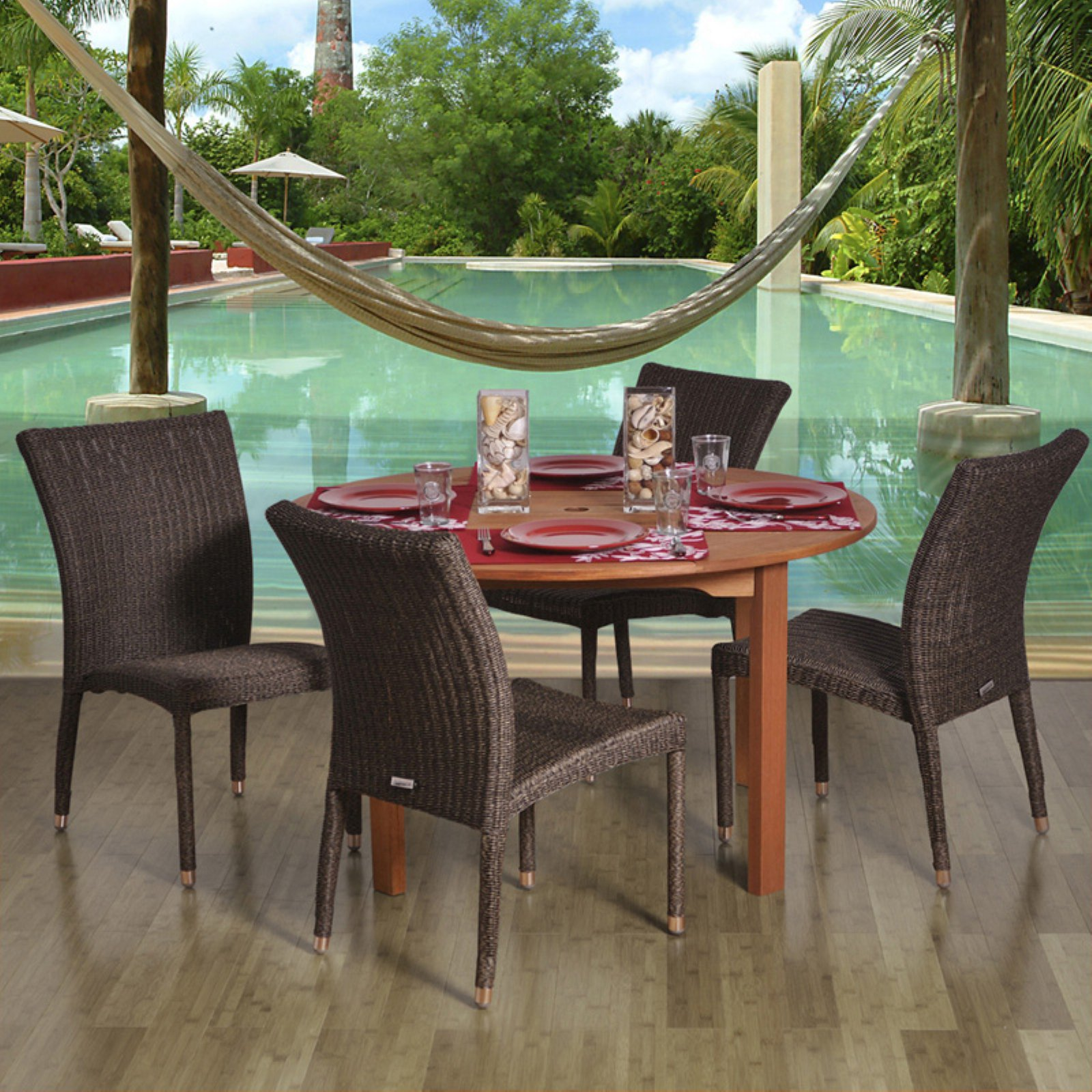 Amazonia Lorraine Round All Weather Wicker Dining Set - Seats 4