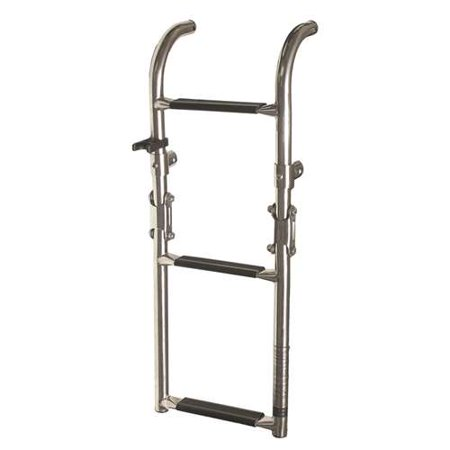 Marine Stainless Steel Transom Mount Ladder 3 Step Folding Boat Pontoon -