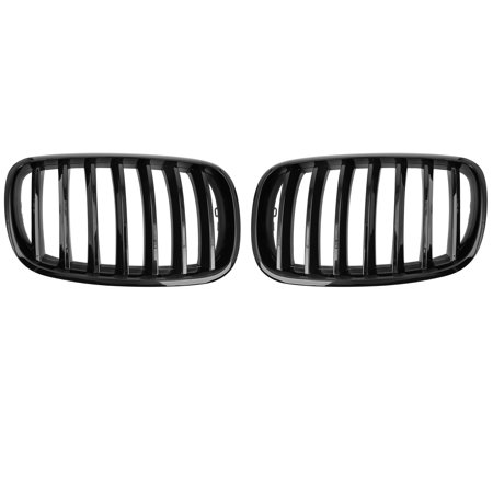 2pcs Glossy Black Front Kidney Grille Grill for 07-13 BMW E70 X5 E71