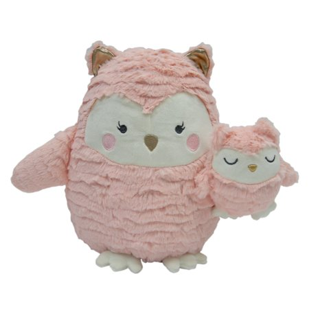 Lambs & Ivy Woodland Couture Plush Owls - Olivia & Olive - Pink, Gold, White