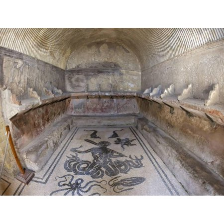 Floor of Tepidarium in Roman Central Baths Mosaic Depicting Triton, Campania, Italy Print Wall Art