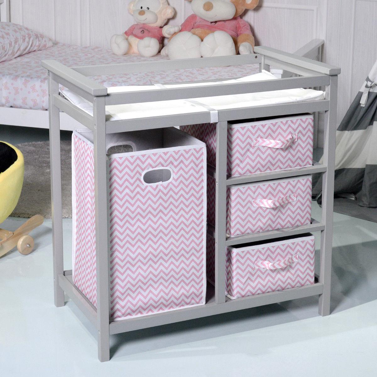 Costway Gray Pink Infant Baby Changing Table w 3 Basket Hamper Diaper Storage Nursery by costway
