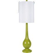 """41.5"""" Modern Pop Lime Green Glass Table Lamp with Silver Modified Drum Shade"""