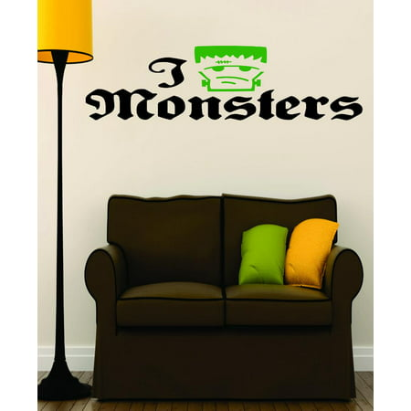 Custom Wall Decal : I Love Monsters Halloween Holiday Fall Seasonal Decoration Sign 16x32 - Halloween Wall Decorations