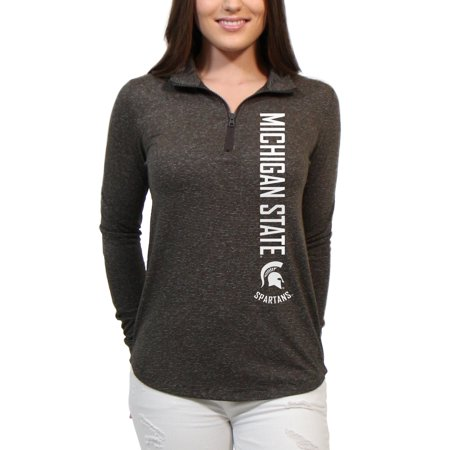 Michigan State Spartans Cascade Text Women's/Juniors Team Long Sleeve Half Zip Shirt](Spartan Wholesale)