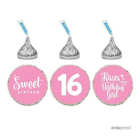Chocolate Drop Labels Trio, Fits Hershey's Kisses, Sweet 16 Birthday, Pink, 216-Pack - Sweet 16 Birthday Present Ideas