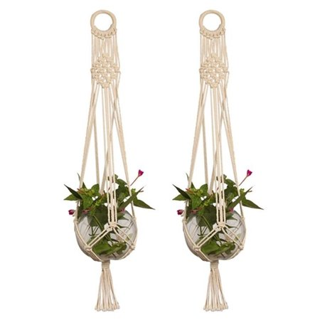 2-pack Pot Holder Macrame Plant Hanger Planter Hanging Basket Jute Rope Braided (Style Plant Holder)