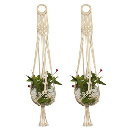 2-pack Pot Holder Macrame Plant Hanger Planter Hanging Basket Jute Rope Braided Craft