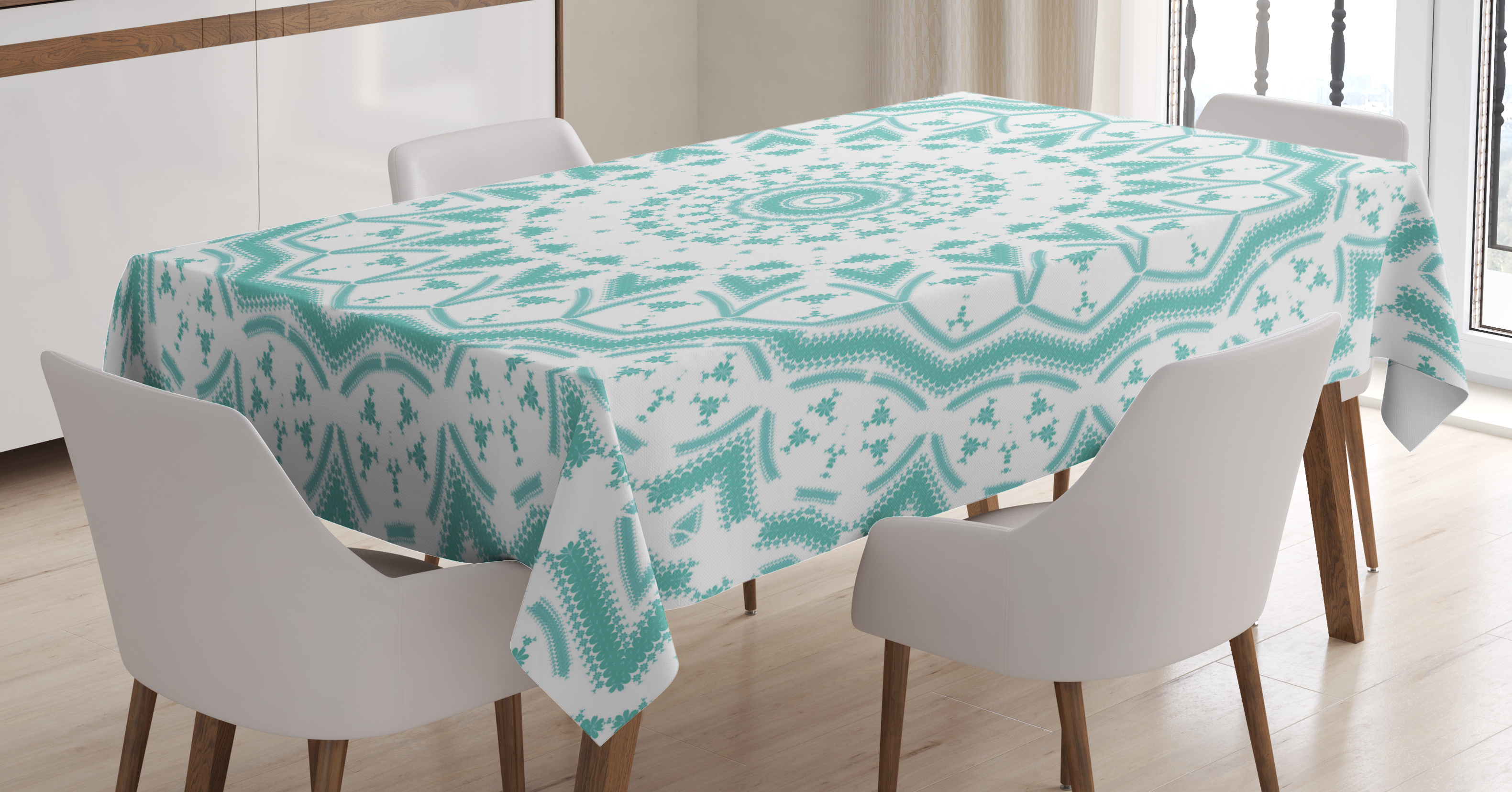 Aqua Tablecloth, Mandala Indian Ethnic Decor Tie Dye Floral Leaves Seem  Design Image Print,