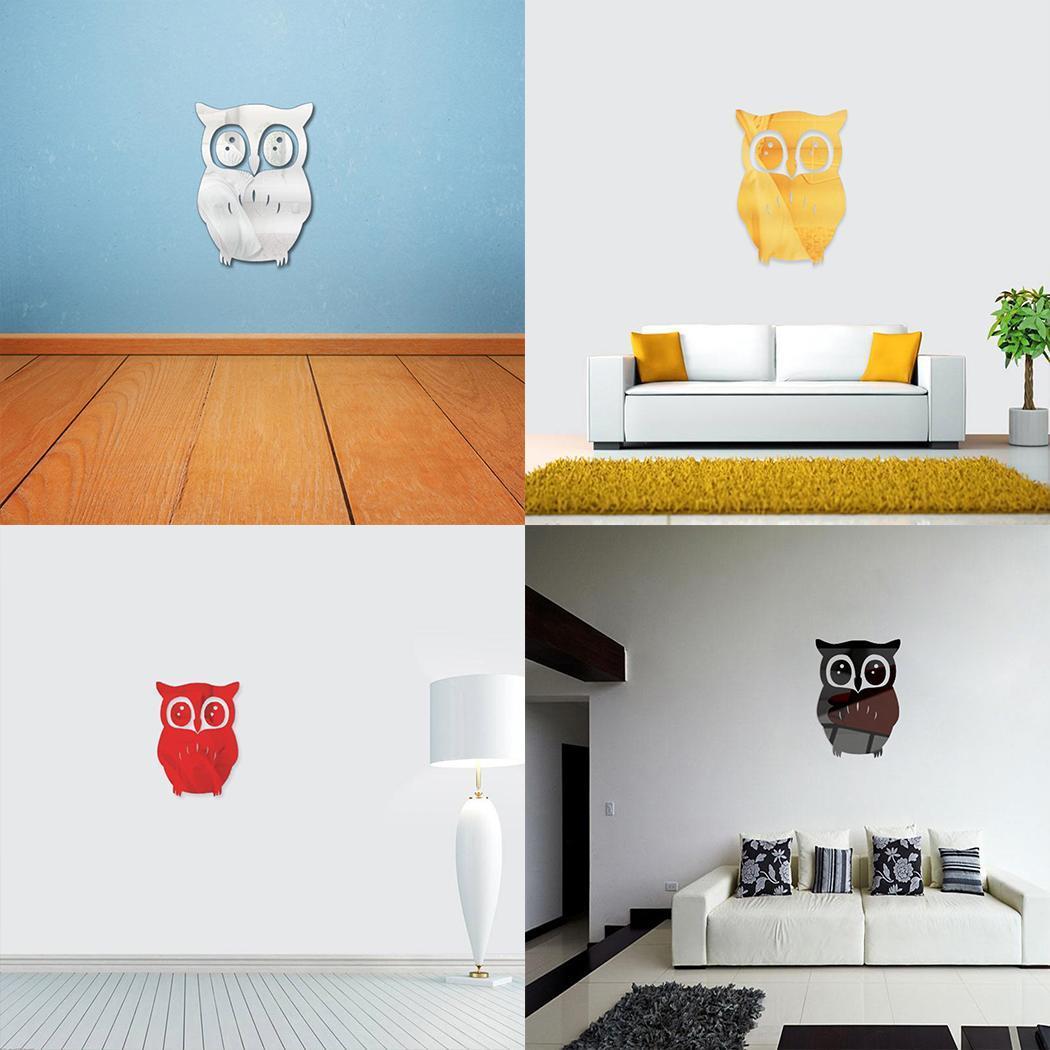 3D Mirror Owl Art Removable Wall Sticker Mural Decal Home Room Decor New HFON