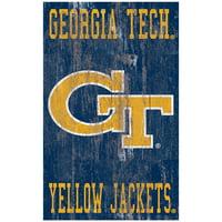 Georgia Tech Yellow Jackets 11'' x 19'' Heritage Distressed Logo Sign