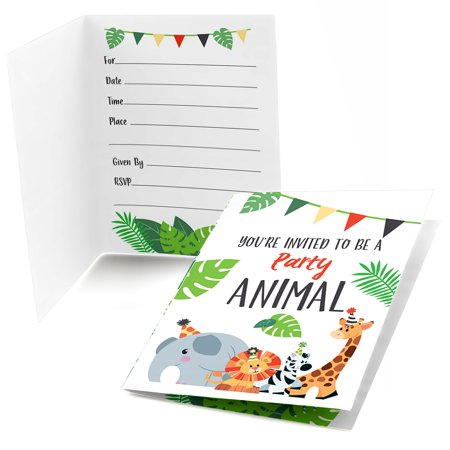 Jungle Party Animals - Fill In Safari Zoo Animal Birthday Party or Baby Shower Invitations (8 count)](Halloween Birthday Invitation Verses)