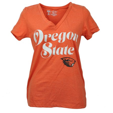 NCAA Oregon State Beaver Script Orange Tshirt Womens V Neck Short Sleeve