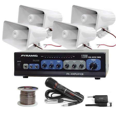 Pyle KTHSP520 120 W PA Amplifier System with Horn Speakers (White), Wire / Wireless Microphone and speaker wire