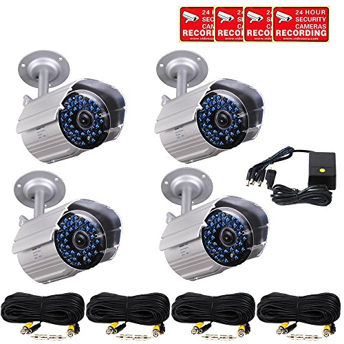 VideoSecu 4 x Outdoor Bullet Security Cameras Day Night 3...