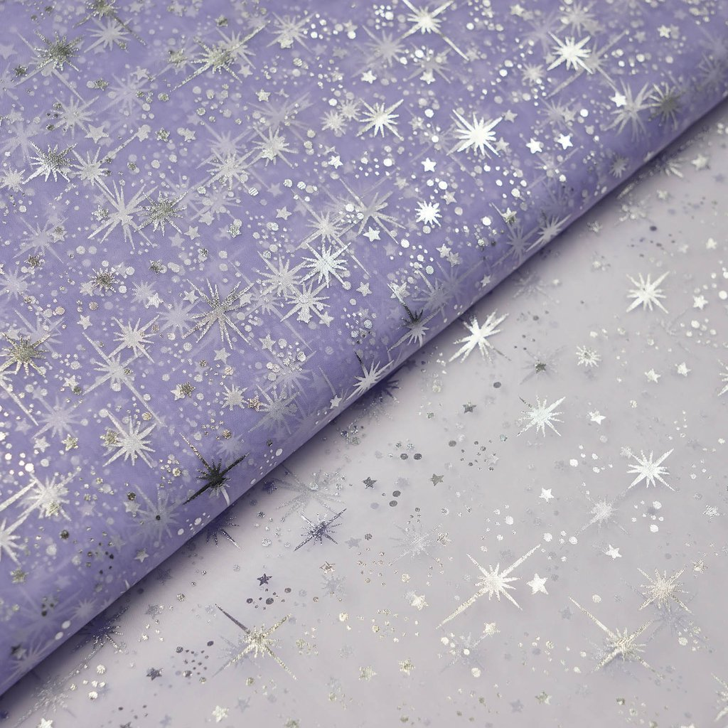 "BalsaCircle 54"" x 15 yards Silver Stars Design Tulle Organza Fabric by the Bolt Crafts Sewing Wedding Party Draping DIY Decorations"