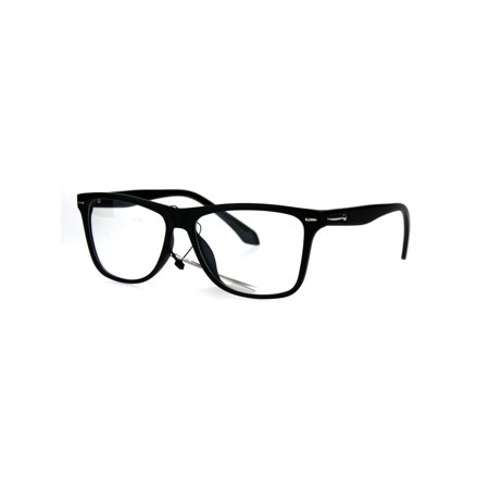 Mens Rectangular Plastic Horn Rim Clear Lens Eye Glasses Frame Matte Black (Glasses Black Frame Mirrored Lens)