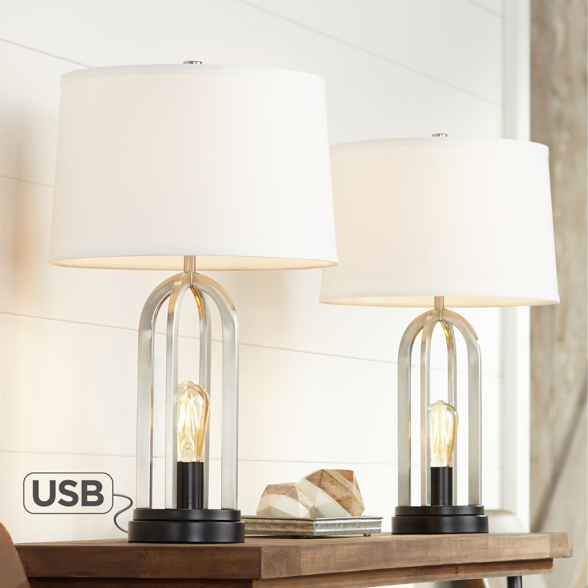 360 lighting modern table lamps set of 2 with usb port and