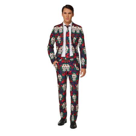 Suitmeister Men's Day Of The Dead Halloween Suit (Dead Person Halloween)