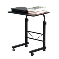Portable Computer Desk, Adjustable Laptop Table for Sofa Bed, Rolling Laptop Tray for Home Office, Side Table for Sofa Bed, Stand Workstation for Studying Breakfast, 23.6 x 15.7 in, Black, W1616