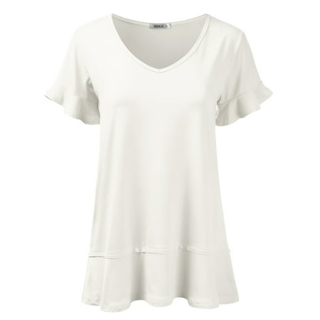 92c08a1aa Doublju - Doublju Women's Short Sleeve Flattering Comfy Tunic Loose Fit  Flowy Top IVORY S - Walmart.com