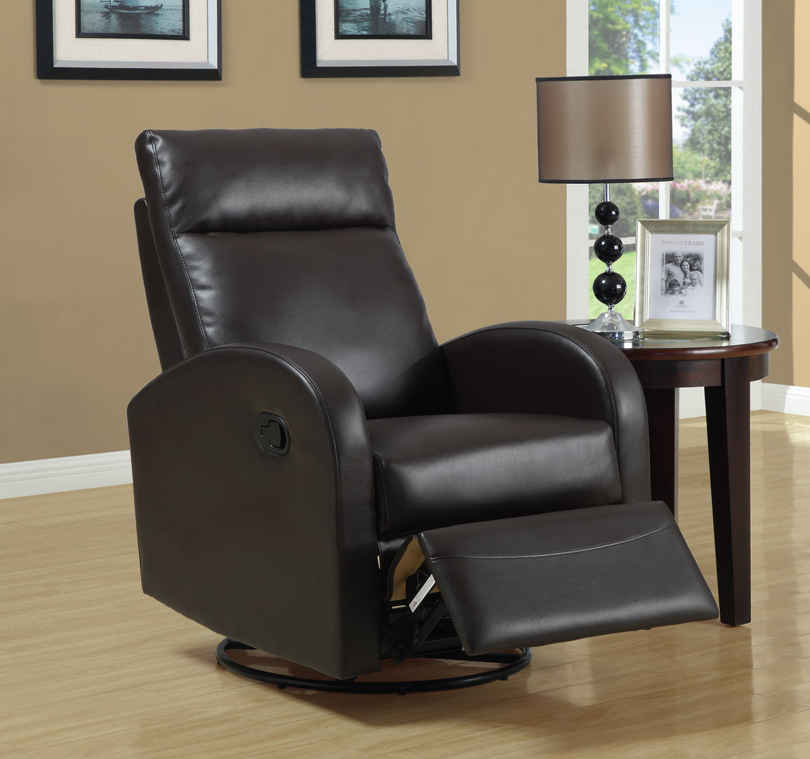 Delicieux Monarch Specialties Bonded Leather Swivel Rocker Recliner, Dark Brown,  Solid   Walmart.com