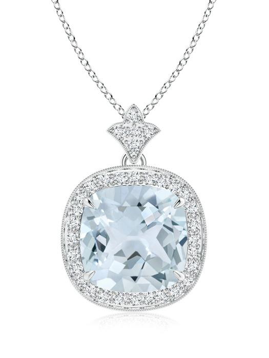 March Birthstone Pendant Necklaces Claw Set Aquamarine Diamond Pendant with Milgrain Detailing in 950 Platinum (10mm... by Angara.com