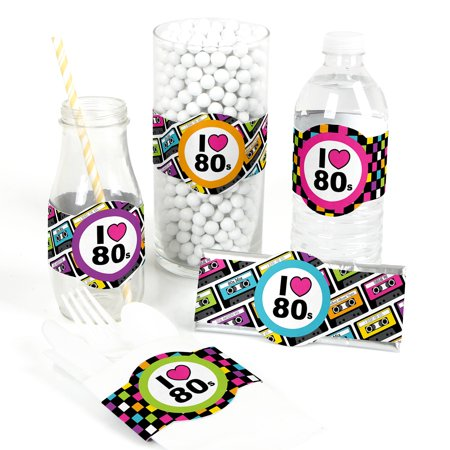 80's Retro - DIY Party Supplies - Totally 1980s Party DIY Wrapper Favors & Decorations - Set of 15](80s Theme Party Supplies)