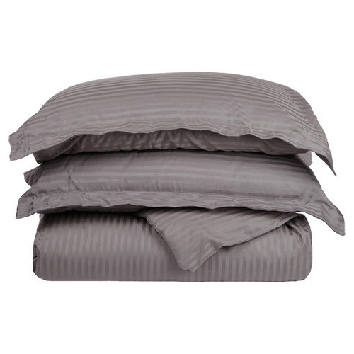 Impressions 300 Thread Count Egyptian Cotton Sateen Weave Stripe Duvet Cover 3 Piece Set