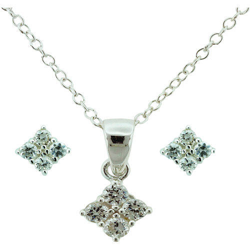 CZ Sterling Silver Quad Pendant and Earrings Set