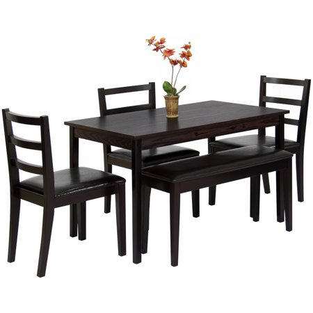 Best Choice Products 5 Piece Wood Dining Table Set W Bench 3 Chairs Dinette Brown