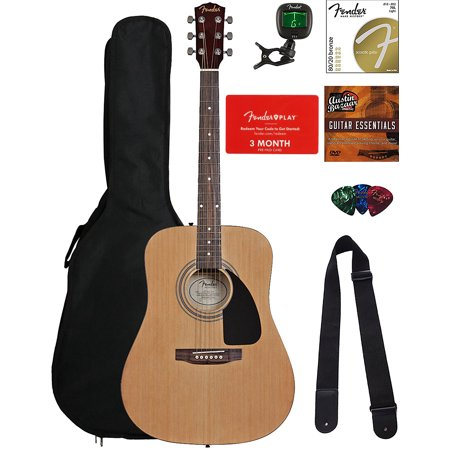 Rosewood Dreadnought (Fender FA-115 Dreadnought Acoustic Guitar - Natural Bundle with Fender Play Online Lessons, Gig Bag, Tuner, Strings, Strap, Picks, and Austin Bazaar Instructional)