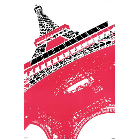 Eiffel Tower Paris France Pop Art Black And White With Color Poster 24X36 Inch