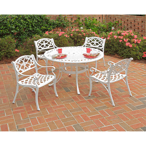Home Styles Biscayne 5pc Outdoor Dining Set with Arm Chairs, White