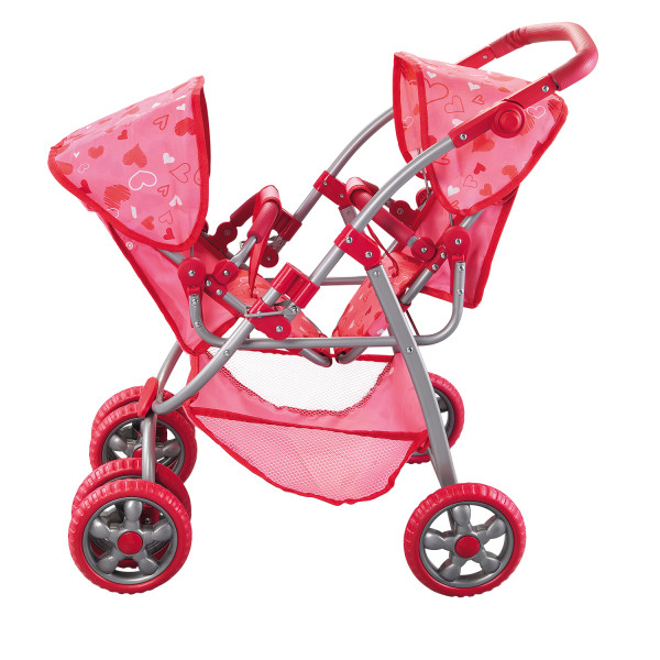 Pink Hearts Designed Deluxe Twin Stroller Set fits 2 18 i...