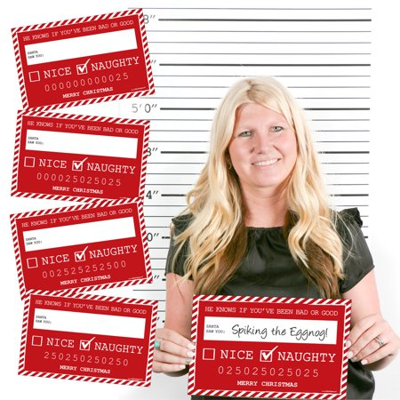 Santa's Naughty List Mug Shots - Christmas Party Photo Booth Props Mug Shots - 20 Count