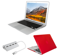 """Apple Macbook Air 1.6GHz Intel Core i5 128GB SSD 4GB 11"""" Display with 4 PORT 3.0 USB HUB and Clip Case -Red"""