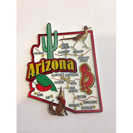 Arizona State Map and Landmarks Collage Fridge Collectible Souvenir