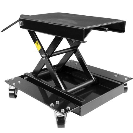 - 1100 LB Motorcycle Scissor Jack Lift w/ Dolly Bike Rack, Front Rear Center Tire Wheel Engine Stand w/ Wheels