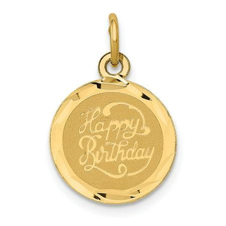 14k Yellow Gold Happy Birthday Disc Pendant For Necklace for Necklace 14k Happy Birthday Disc