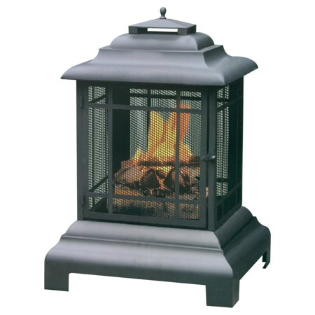 Large Black Outdoor Firehouse - Uniflame Mission-Style Outdoor Firehouse / Fire Pit , Black