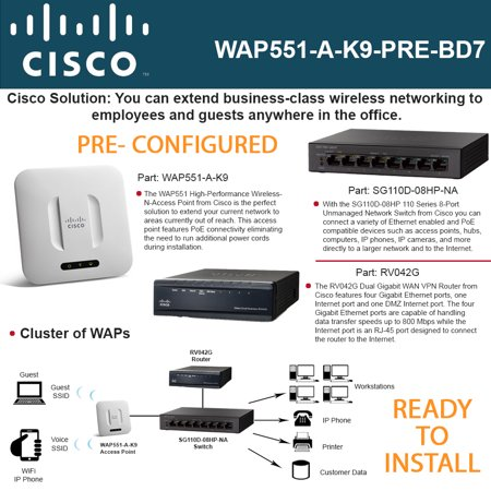 Cisco WAP551 Access Point PRE-CONF + SG110D-08HP Switch 8-Ports + RV042G  Router