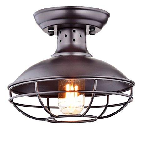 Dazhuan Industrial Vintage Metal Cage Pendant Lighting Semi Flush Mount Ceiling Light Lamp Fixture ORB Hanging Chandelier ()