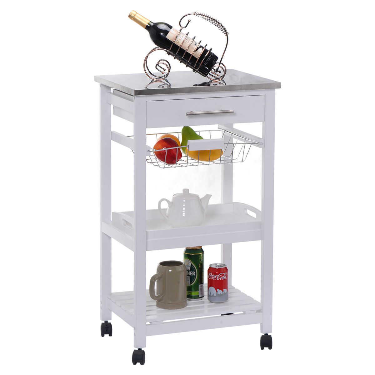 Costway Rolling Kitchen Trolley Cart Steel Top Removable Tray W/Storage Basket &Drawers