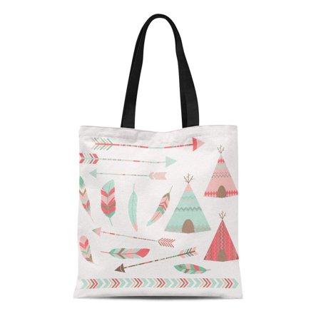 LADDKE Canvas Tote Bag Ancient Pink Tribal Tee Pee Tents Arrow Border Feather Reusable Shoulder Grocery Shopping Bags Handbag