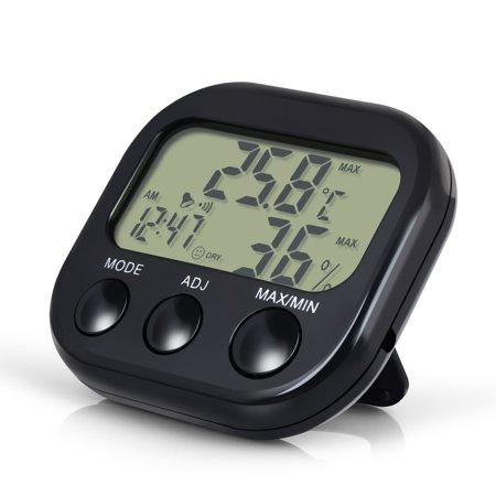 Humidity Thermometer - Insten Digital LCD Black Thermometer Hygrometer Temperature Humidity Meter Gauge Clock