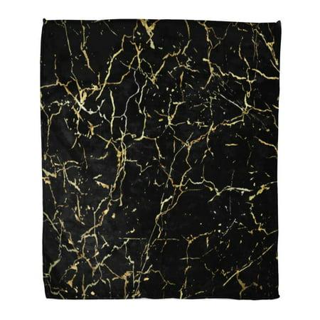 SIDONKU 58x80 inch Super Soft Throw Blanket Marble Gold Marbling Design for Book Catalog Black Splatter Abstract Brush Crack Home Decorative Flannel Velvet Plush Blanket ()