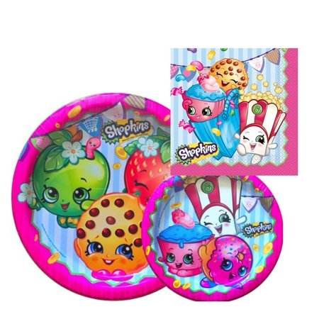 - Birthday Party Supply Set for 16: Dinner Plates, Dessert Plate, & Napkins16 Shopkins Napkins By Shopkins